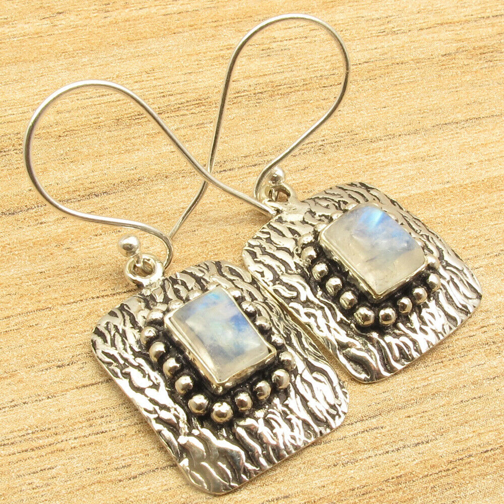 Rectangle Rainbow Moonstone Dangling Earrings