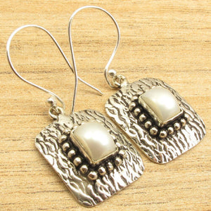 Rectangle Pearl Dangling Earrings