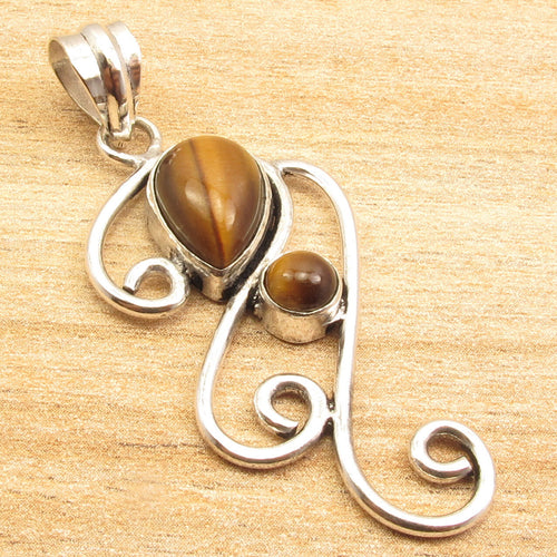 Artisanstyled Tiger Eye Filgree Pendant
