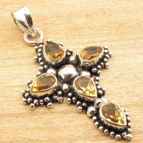 TearDrop Cross Citrine Pendant