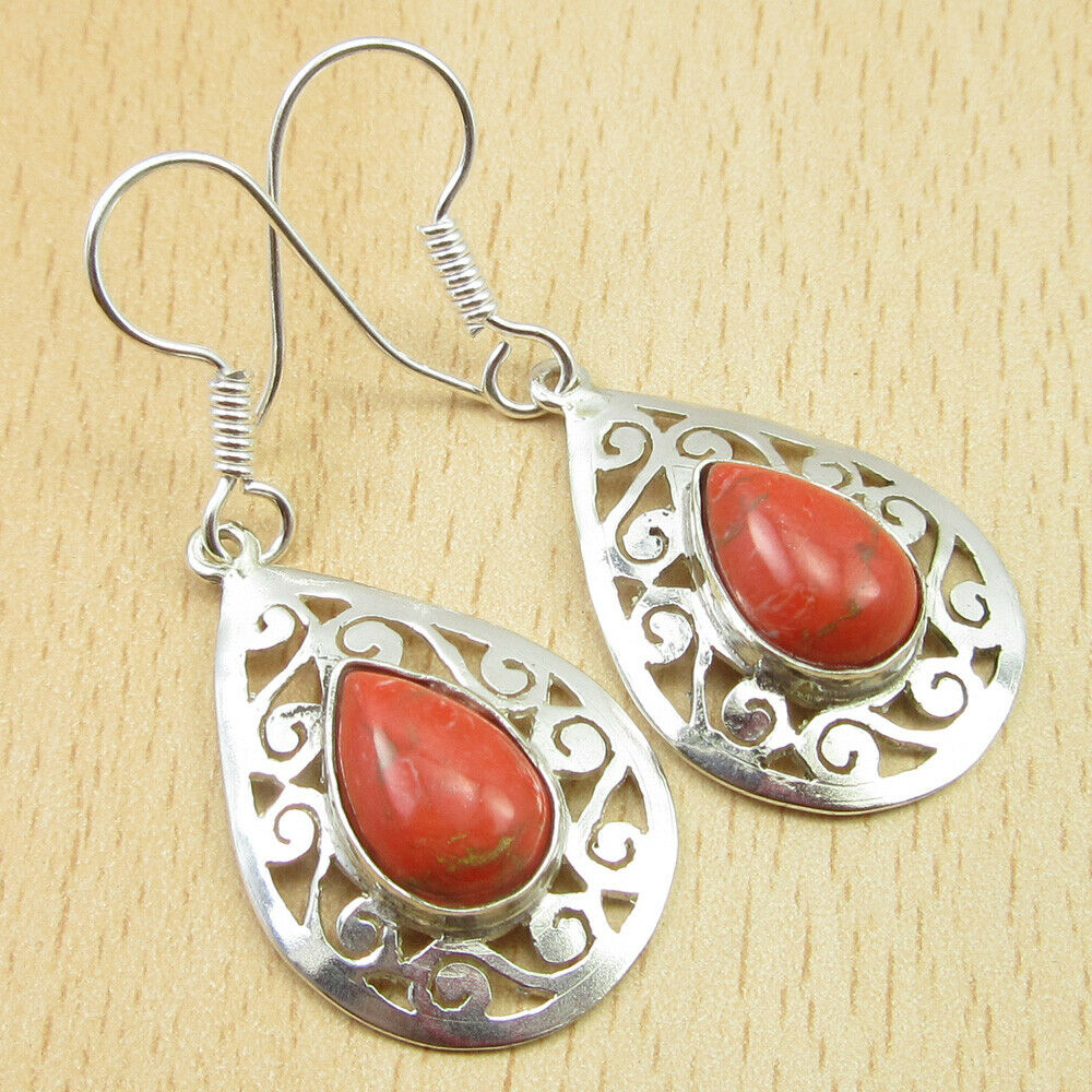 Celtic Teardrop Orange Copper Turquoise Dangling Earrings
