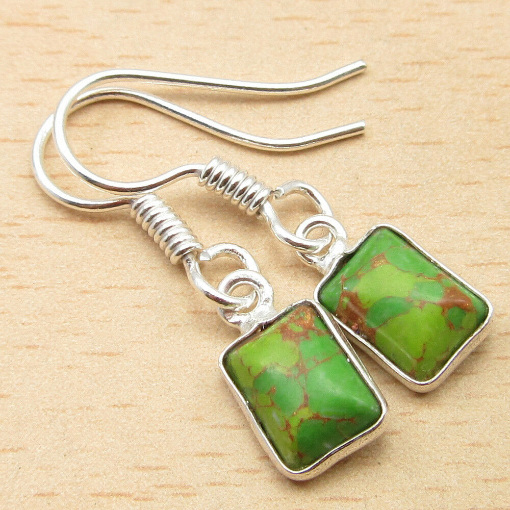 Square Green Copper Turquoise Dangling Earrings