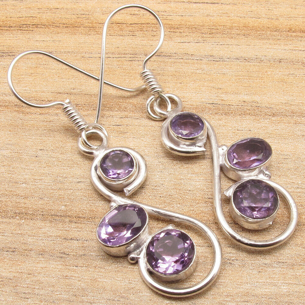 Trendy Art Amethyst Dangling Earrings