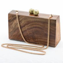 Load image into Gallery viewer, TriTea Wood Evening Sling Clutch Bag Teak Handmade