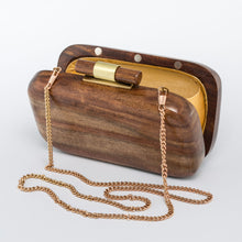 Load image into Gallery viewer, SanoTea Wood Evening Sling Clutch Bag Teak Handmade
