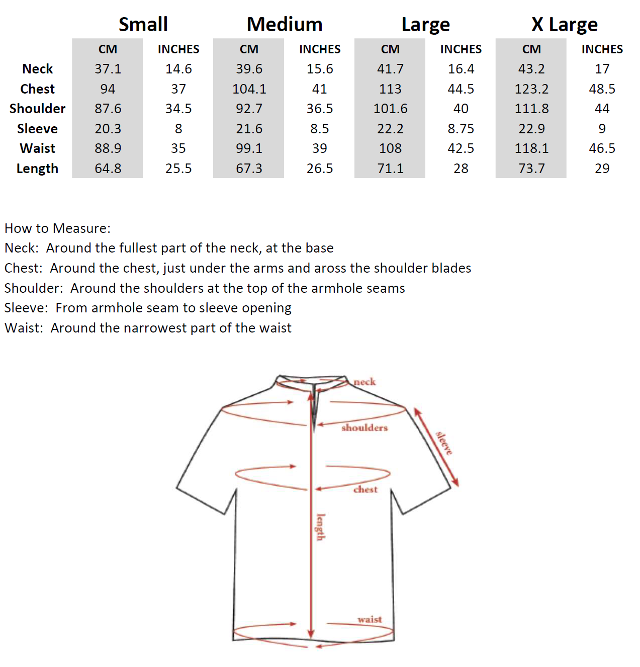 SpearPoint™ Apparel Sizing Chart
