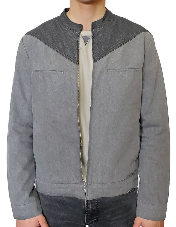 SpearPoint Apparel Men's New West Denim Jacket - Steel Blue and Gray