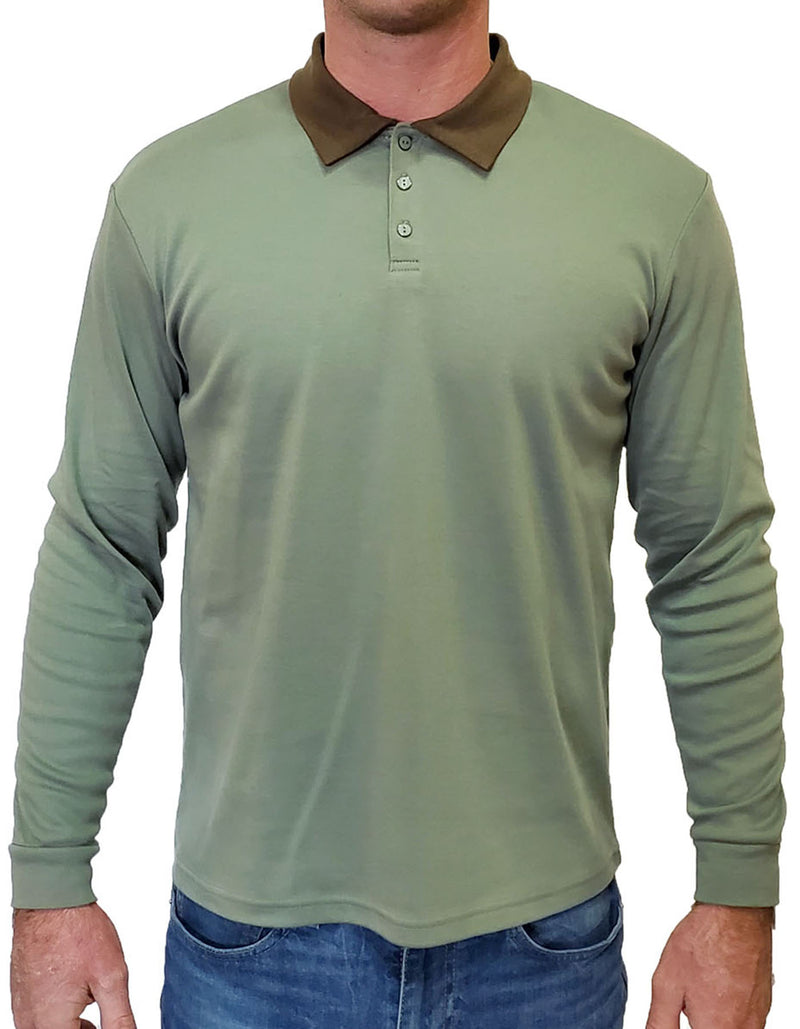 SpearPoint Apparel Men's Long Sleeve Step-Up Casual Polo Shirt - Dark Green