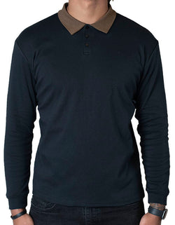 SpearPoint Apparel Men's Long Sleeve Step-Up Casual Polo Shirt - Black