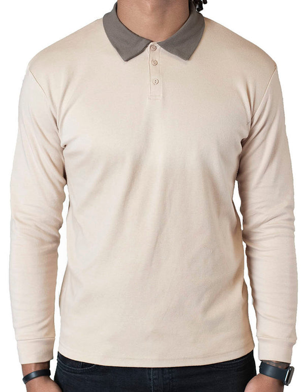 SpearPoint Apparel Men's Long Sleeve Step-Up Casual Polo Shirt Two-Tone Brown