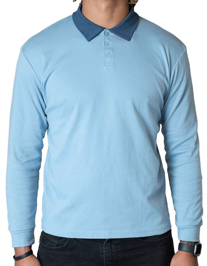SpearPoint Apparel Men's Long Sleeve Step-Up Casual Polo Shirt - Blue (Bundle)