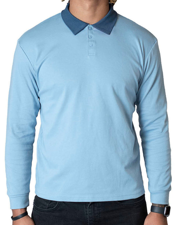 SpearPoint Apparel Men's Long Sleeve Step-Up Casual Polo Shirt - Blue