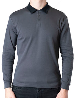 SpearPoint Apparel Men's Long Sleeve Step-Up Casual Polo Shirt - Gray
