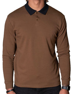 SpearPoint Apparel Men's Long Sleeve Step-Up Casual Polo Shirt - Brown