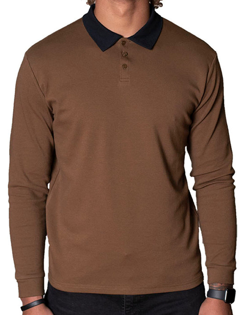 SpearPoint Apparel Men's Long Sleeve Step-Up Casual Polo Shirt - Brown (Bundle)