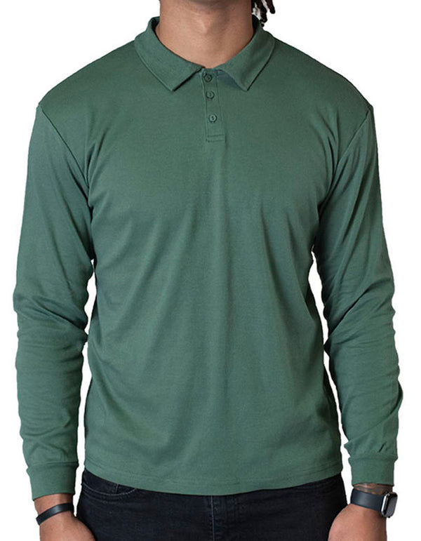 SpearPoint Apparel Men's Long Sleeve Step-Up Casual Polo Shirt - Green
