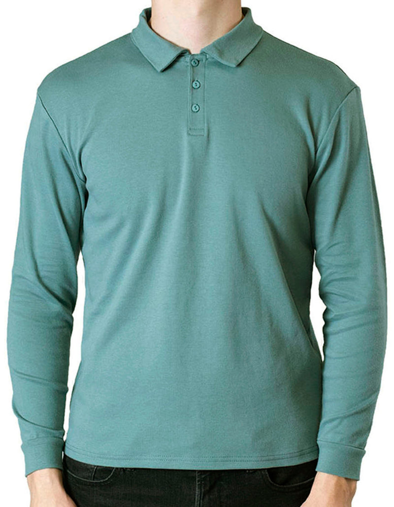 SpearPoint Apparel Men's Long Sleeve Step-Up Casual Polo Shirt - Teal