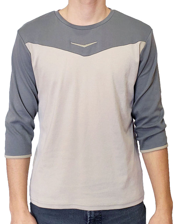 SpearPoint Apparel Men's 3/4 Sleeve Crew Neck T Shirt - Taupe & Gray