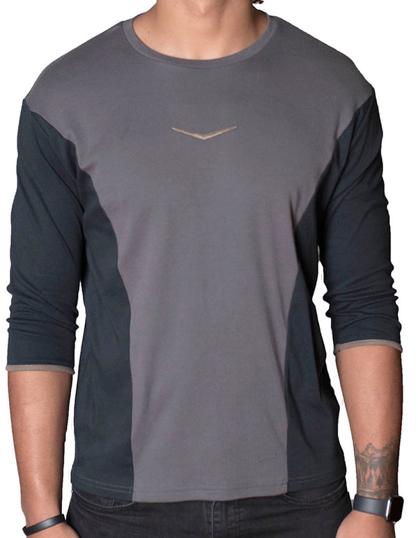 SpearPoint Apparel Men's 3/4 Sleeve Crew Neck T Shirt - Gray & Black