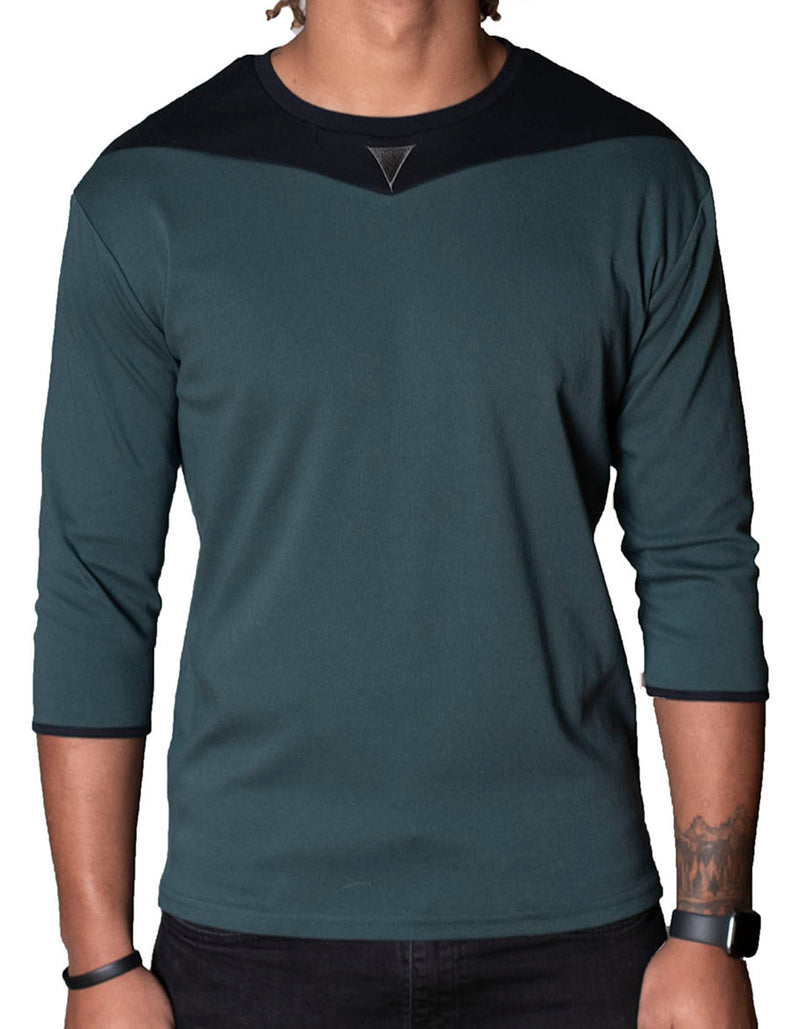SpearPoint Apparel Men's 3/4 Sleeve Crew Neck T Shirt - Dark Green & Black