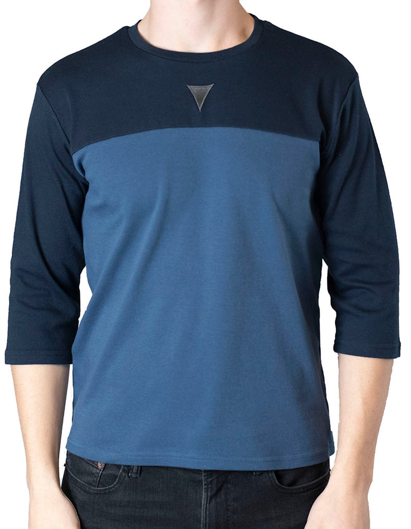 SpearPoint Apparel Men's 3/4 Sleeve Crew Neck T Shirt - Two-Toned Blue