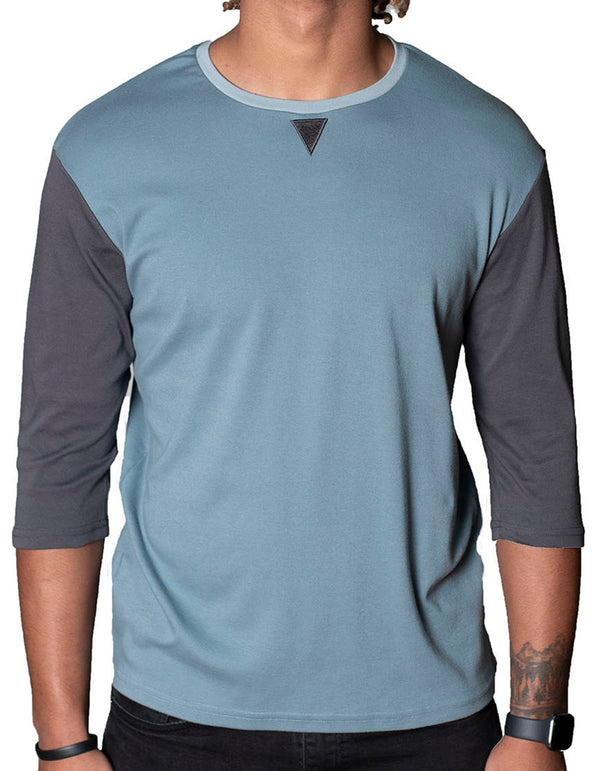 SpearPoint Apparel Men's 3/4 Sleeve Crew Neck T Shirt - Blue & Gray