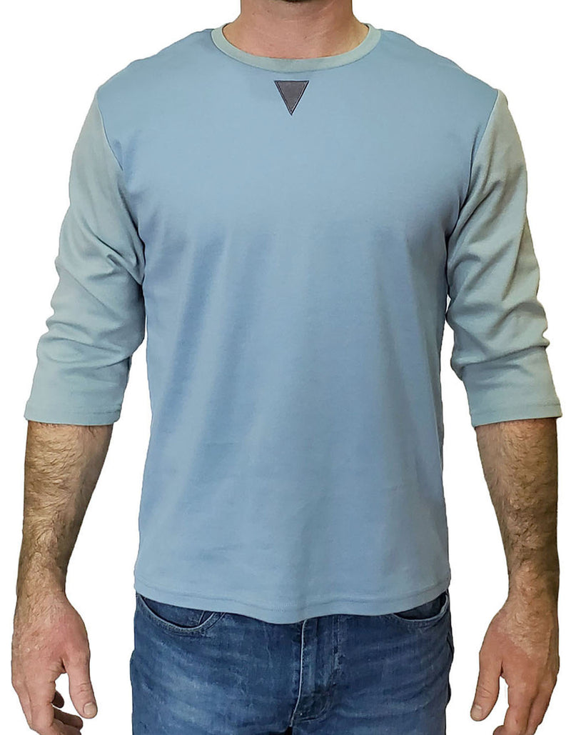 SpearPoint Apparel Men's 3/4 Sleeve Crew Neck T Shirt - Blue & Green