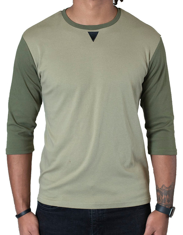 SpearPoint Apparel Men's 3/4 Sleeve Crew Neck T Shirt - Sage & Moss Green