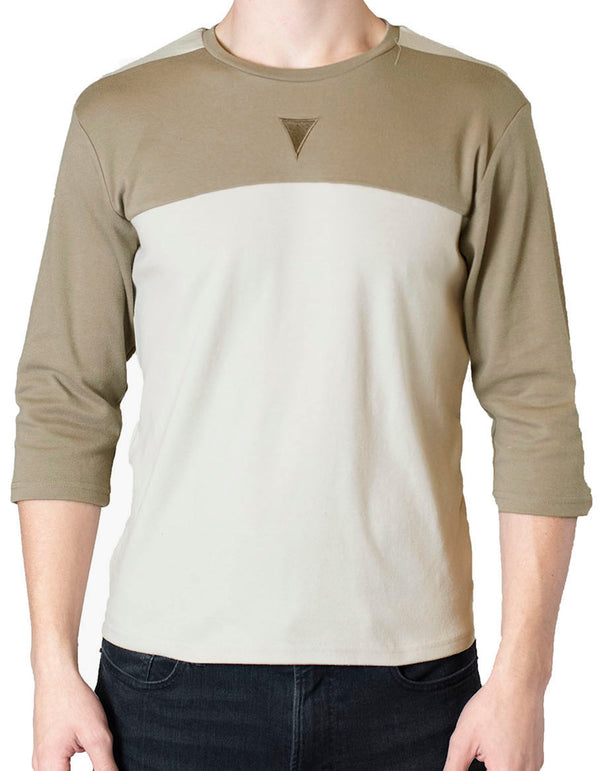 SpearPoint Apparel Men's 3/4 Sleeve Crew Neck T Shirt - Two-Toned Taupe