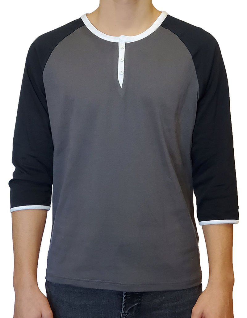 SpearPoint Apparel Men's 3/4 Mid Sleeve 3 Button Henley Shirt - Gray & Black (Bundle)