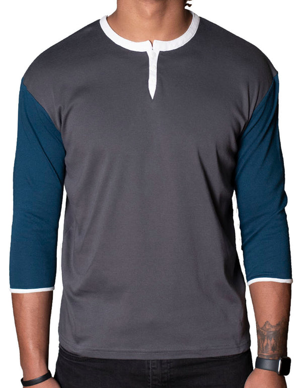 SpearPoint Apparel Men's 3/4 Mid Sleeve 3 Button Henley Shirt - Gray & Blue
