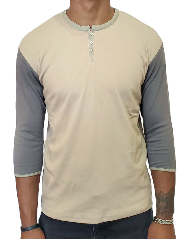 SpearPoint Apparel Men's 3/4 Mid Sleeve 3 Button Henley Shirt - Taupe & Gray