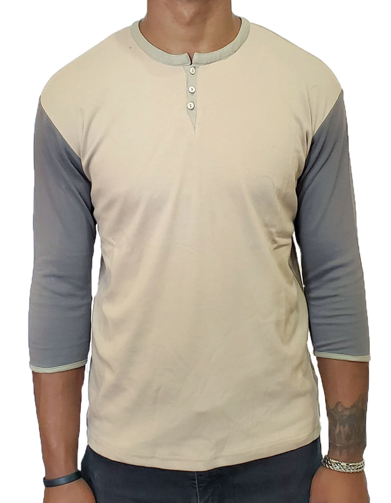 SpearPoint Apparel Men's 3/4 Mid Sleeve 3 Button Henley Shirt - Taupe & Gray (Bundle)