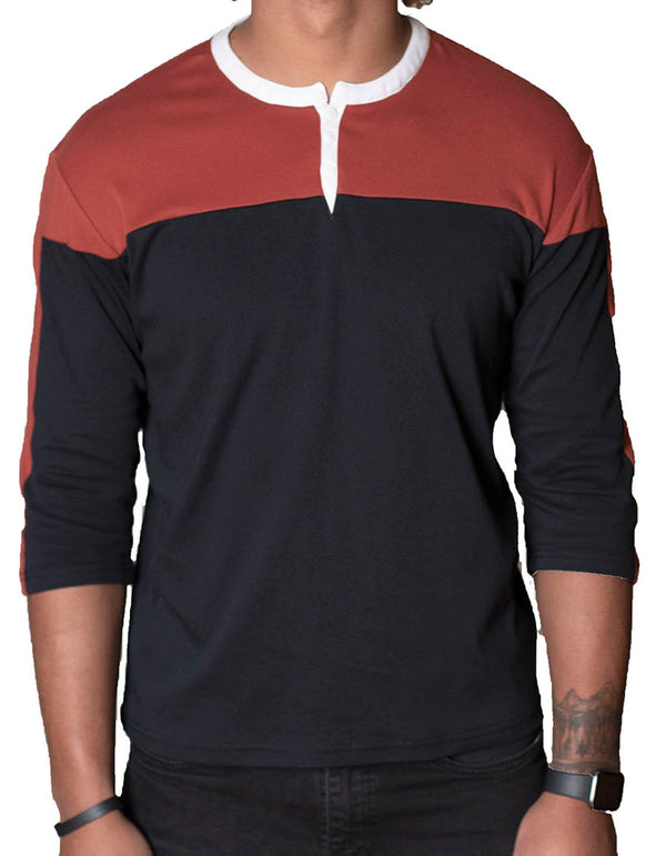 SpearPoint Apparel Men's 3/4 Mid Sleeve 3 Button Henley Shirt - Black & Burnt Orange