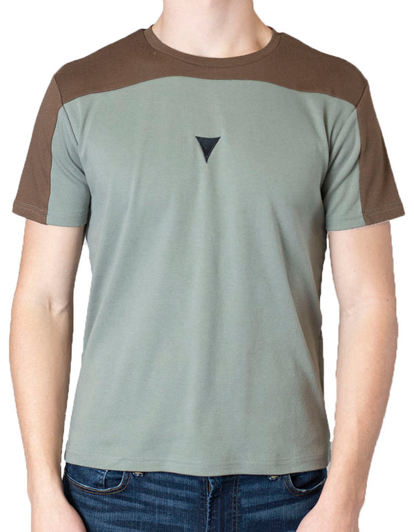 SpearPoint Apparel Men's Short Sleeve Crew Neck T Shirt - Green & Brown
