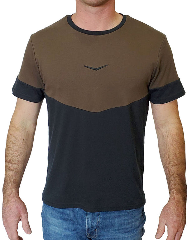 SpearPoint Apparel Men's Short Sleeve Crew Neck T Shirt - Black & Brown