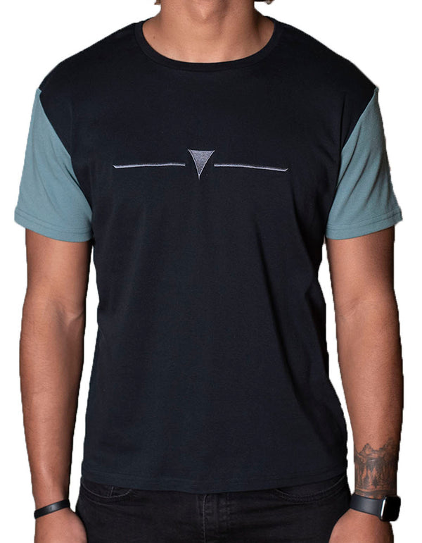 SpearPoint Apparel Men's Short Sleeve Crew Neck T Shirt - Black & Teal