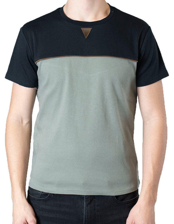 SpearPoint Apparel Men's Short Sleeve Crew Neck T Shirt - Olive & Black