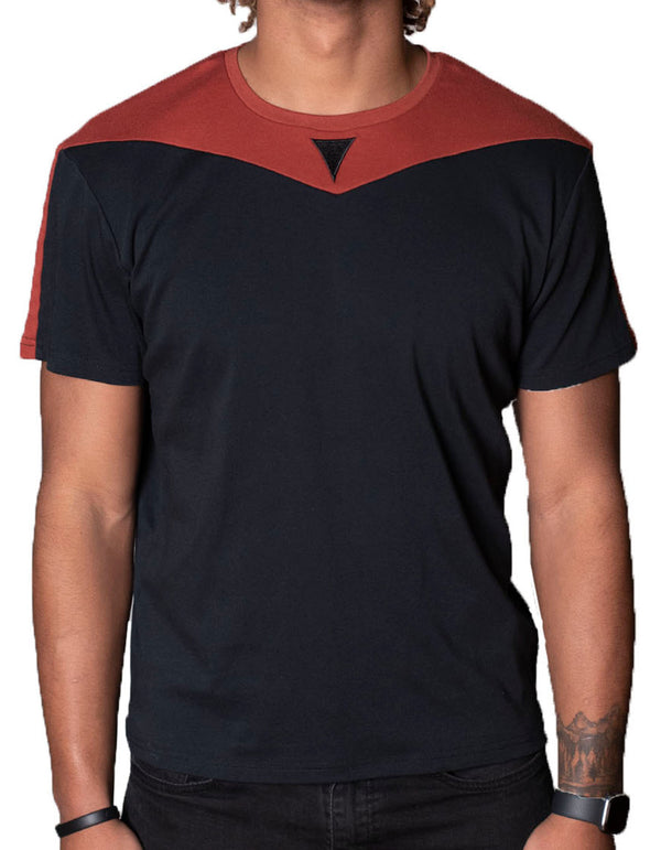SpearPoint Apparel Men's Short Sleeve Crew Neck T Shirt - Black & Burnt Orange