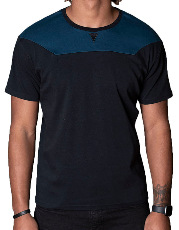 SpearPoint Apparel Men's Short Sleeve Crew Neck T Shirt - Black & Dark Blue
