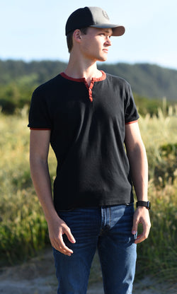 SpearPoint Apparel Men's Short Sleeve 3 Button Henley Shirt - Black