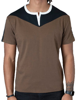 SpearPoint Apparel Men's Short Sleeve 3 Button Henley Shirt - Brown & Black
