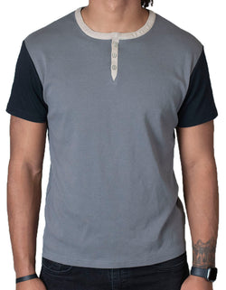 SpearPoint Apparel Men's Short Sleeve 3 Button Henley Shirt - Gray (Bundle)