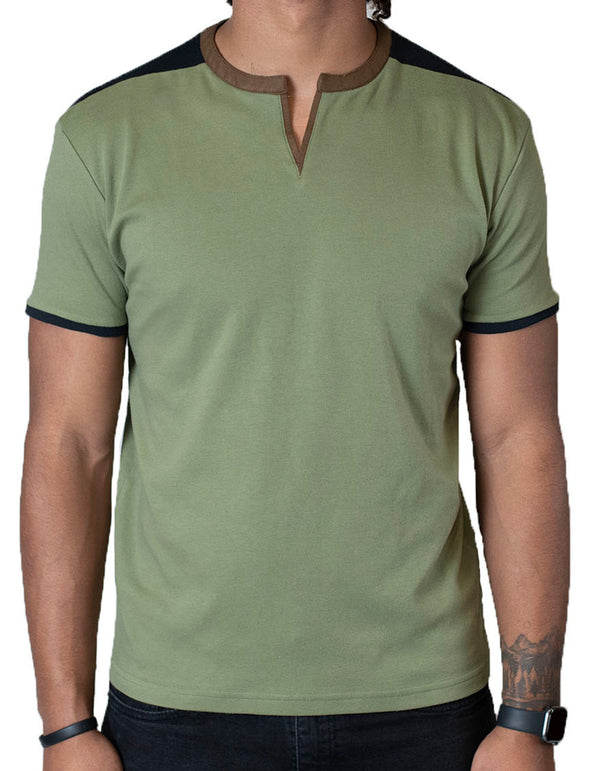 SpearPoint Apparel Men's Soft Short Sleeve Slit V-Neck Shirt - Olive Green