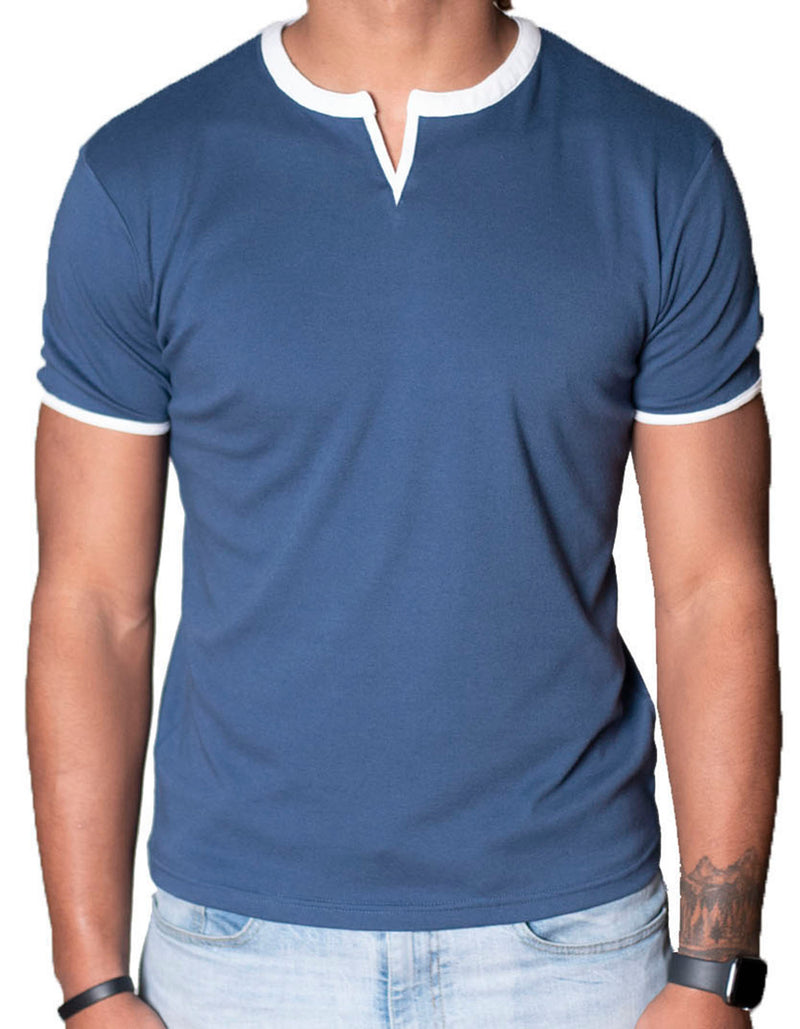 SpearPoint Apparel Men's Soft Short Sleeve Slit V-Neck Shirt - Navy Blue (Bundle)