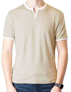 SpearPoint Apparel Men's Soft Short Sleeve Slit V-Neck Shirt - Light Taupe