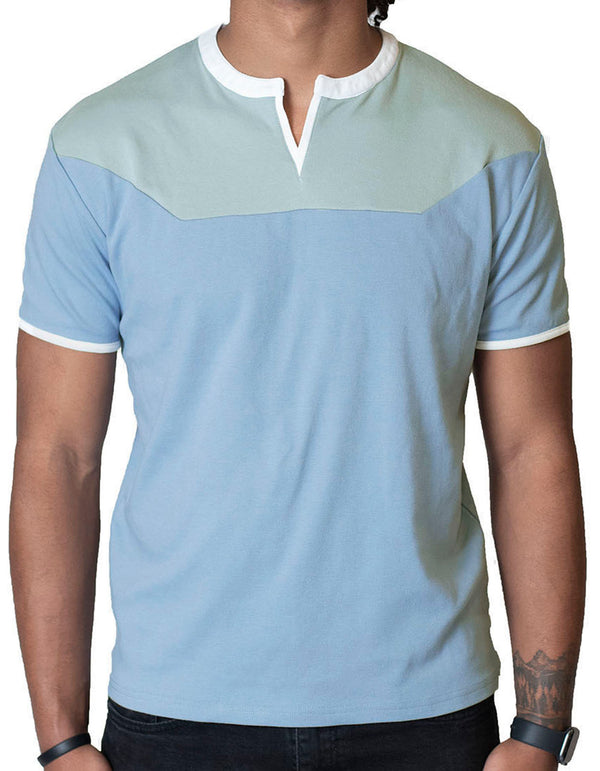 SpearPoint Apparel Men's Soft Short Sleeve Slit V-Neck Shirt - Blue & Olive