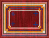 Full view of a mostly red rug with yellow and blue striped border and four blue crosses