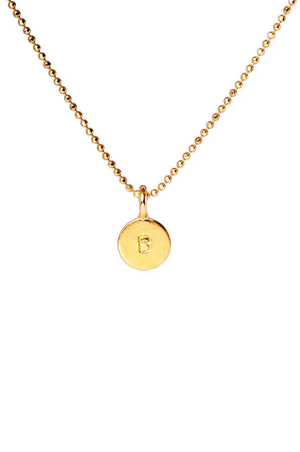 Engraved Initial Gold Disc Delicate Necklace