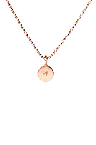Engraved Initial Rose Gold Disc Delicate Necklace